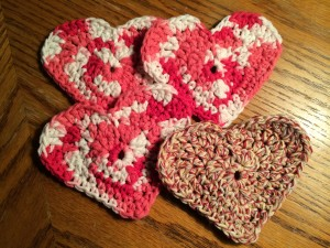 Crocheted Heart Coasters ~ from Me & My House